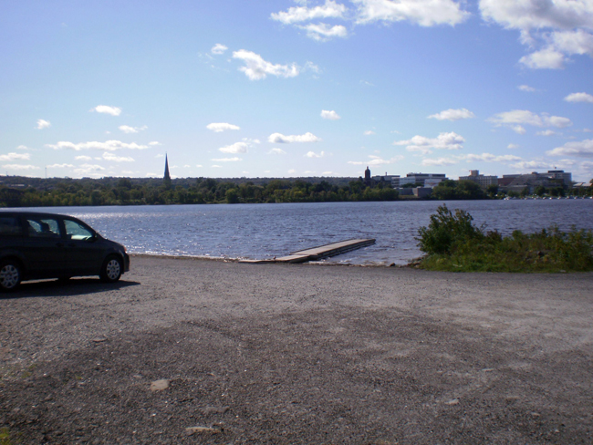 Boat Launch area, River, and a bit of Downtown Fredericton in the distance.