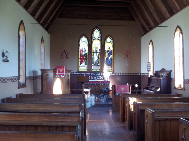 Inside an old Anglican Church.