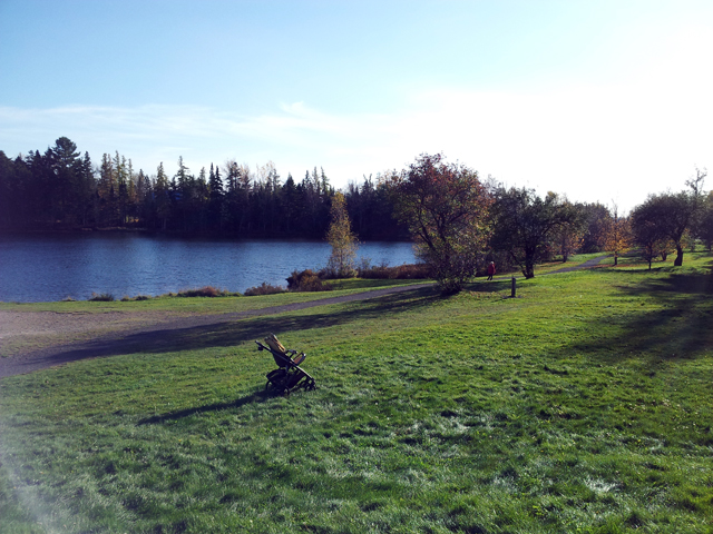 park with lake and walking trail.