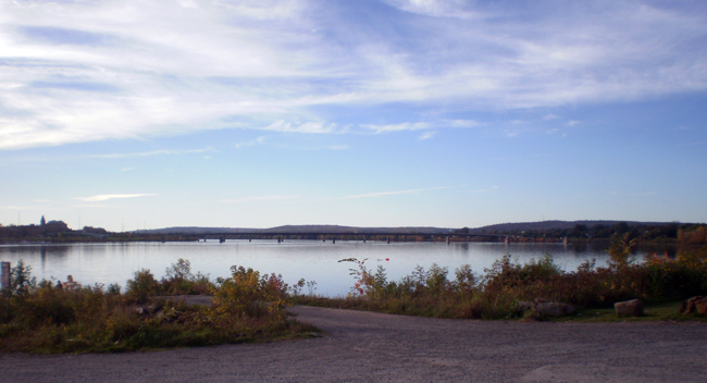 Saint John River Looking toward Westmoreland Bridge on an Early Autumn Evening.